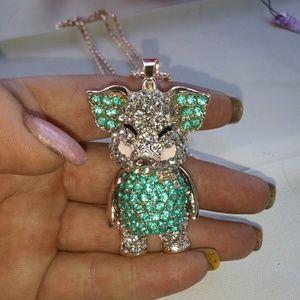 Betsey Johnson Blue Pig Necklace